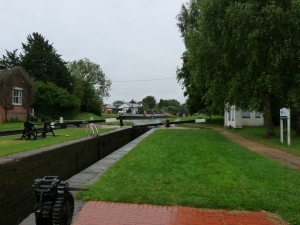 One of the Hillmorton flight of locks with Canalchef Cafe in distance